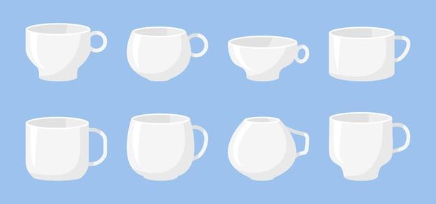 Klassisches weißes kaffeetassen-set