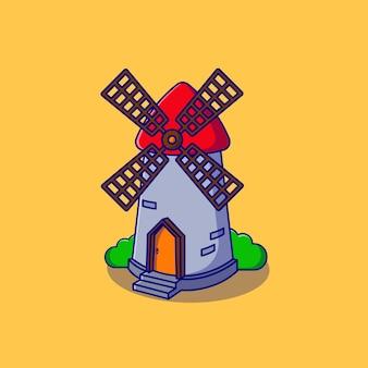 Klassisches windmühlen-illustrationsdesign
