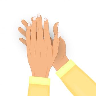 Klatschende menschliche hände lokalisiert auf weißem hintergrund. applaus, bravo. herzlichen glückwunsch, lob, anerkennungskonzept. illustration. in einem hemd.