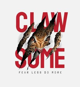Klaue einige slogan mit tigergesicht in klauenmarkierung illustration