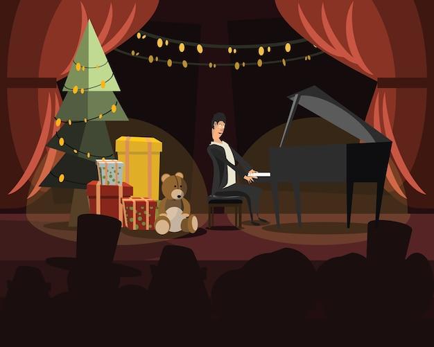 Klavier in der weihnachtsvektorillustration