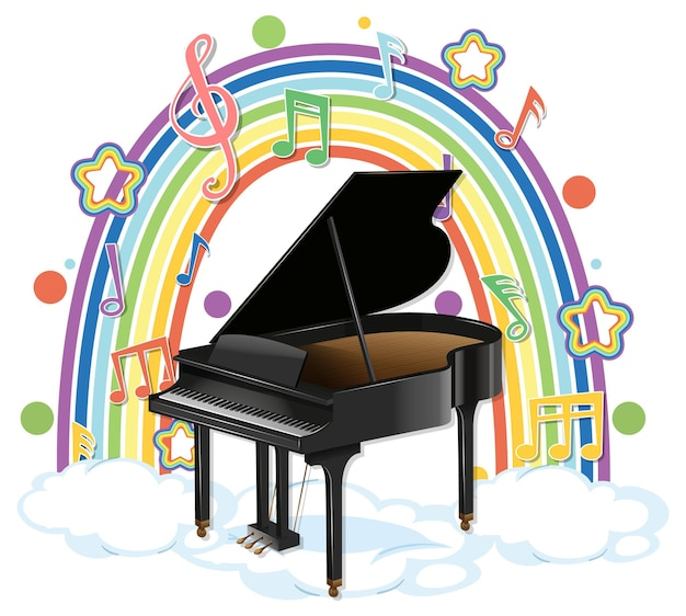 Klavier mit melodiesymbolen auf regenbogen