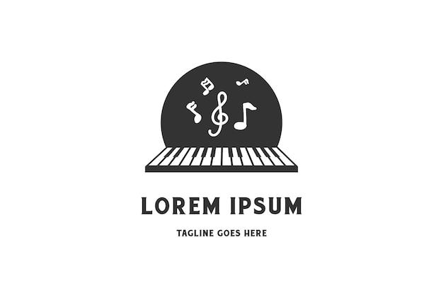 Klavier mit musikton für kurslektion logo design vector