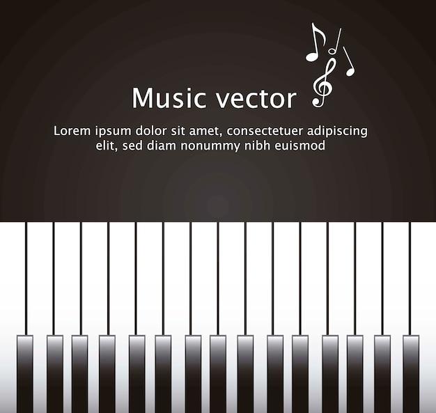 Klavier mit platz für kopie über schwarzem hintergrundvektor