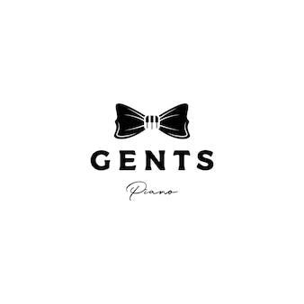Klavier tuts und fliege musik logo design vektor