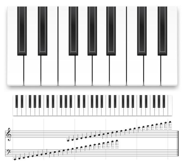 Klaviertastatur und notenblatt