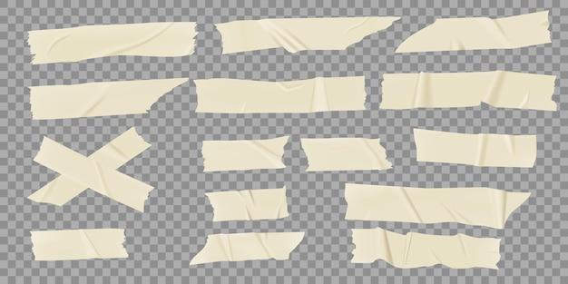 Klebebänder realistische maskierungsstücke zerknitterter klebestreifen scotch mit eingerissenen kanten set