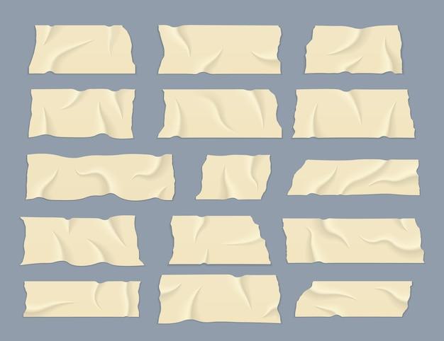 Klebeband mit schatten. streifen braunes zerrissenes klebeband. transparentes klebeband.