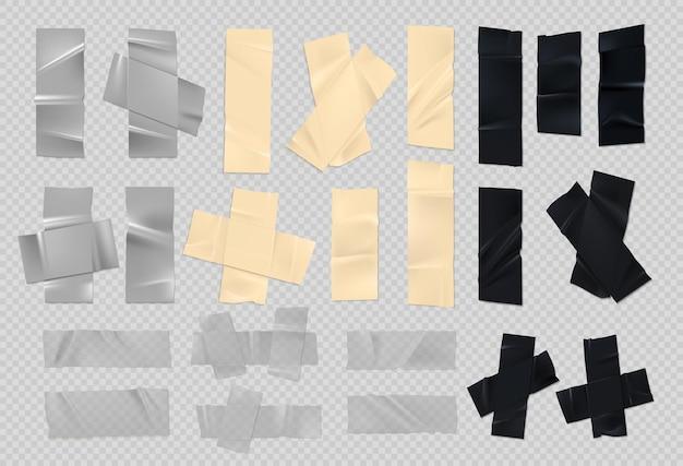 Klebeband. realistische klebrige schwarze silber- und papierstücke aus altem klebeband mit rauen kanten. vektor-set von scotch-zerrissenen streifen zum abdecken von verletzungen