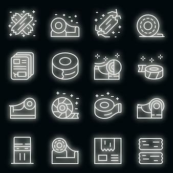 Klebeband-symbole gesetzt. umrisse von scotch-band-vektorsymbolen neonfarbe auf schwarz