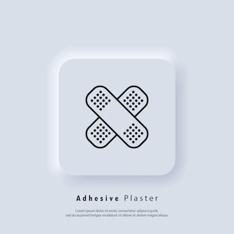 Klebepflaster-symbol. apotheke pflaster. notfall. krankenhaus. gesundheitswesen. vektor. ui-symbol. neumorphic ui ux weiße benutzeroberfläche web-schaltfläche. neumorphismus