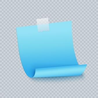 Klebriges blatt der blauen anmerkung mit klebstreifen und schatten. aufkleberpapier blau farbige notiz zur erinnerung, liste, info.