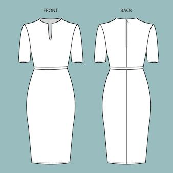 Kleid vorder- und rückansicht. kleid mode flache skizze vorlage.
