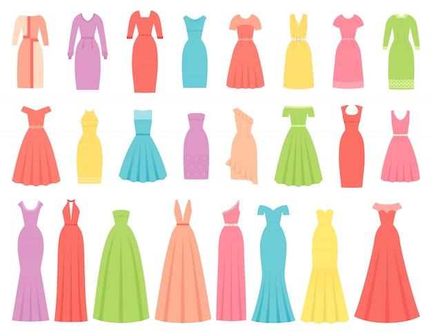 Kleider für frauen. illustrationssatz