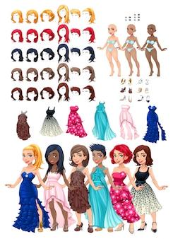 Kleider und frisuren spiel vektor-illustration isoliert objekte 6 frisuren mit 5 farben jeweils 6 verschiedene kleider 5 augen farben 6 schuhe 3 haut farben
