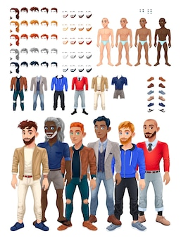 Kleider- und frisurenspiel mit männlichem avatar. vektor-illustration, isolierte austauschbare objekte.