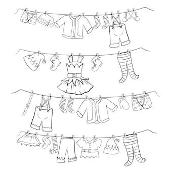 Kleider werden auf einen kleiderbügel gehängt. weihnachtsdekoration. outfit im doodle-stil für die helferelfen des weihnachtsmanns. vektorillustration lokalisiert auf weißem hintergrund.