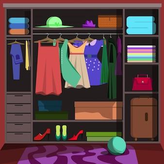 Kleiderschrank mit modischer kleidung. garderobenraum