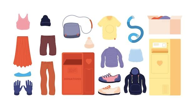 Kleiderspende. recycling von kleidung, second-hand-laden. container spenden, altes pulloverkleid für wohltätigkeitsvektorset. kleiderwohltätigkeit, kleiderspenden, wohlwollen und soziale illustration helfen