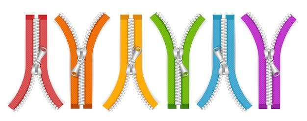 Kleidung bunte zip-sammlung offene positionen. vektor-illustration