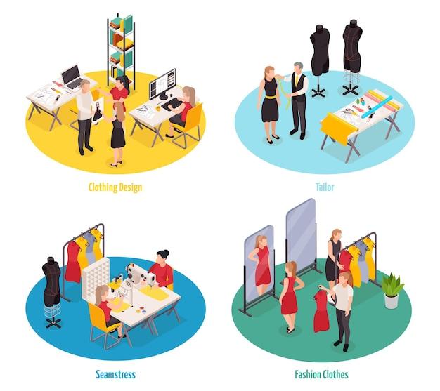 Kleidung fabrik und modegeschäft illustration mit designer schneider näherin verkäufer bei der arbeit 3d isoliert