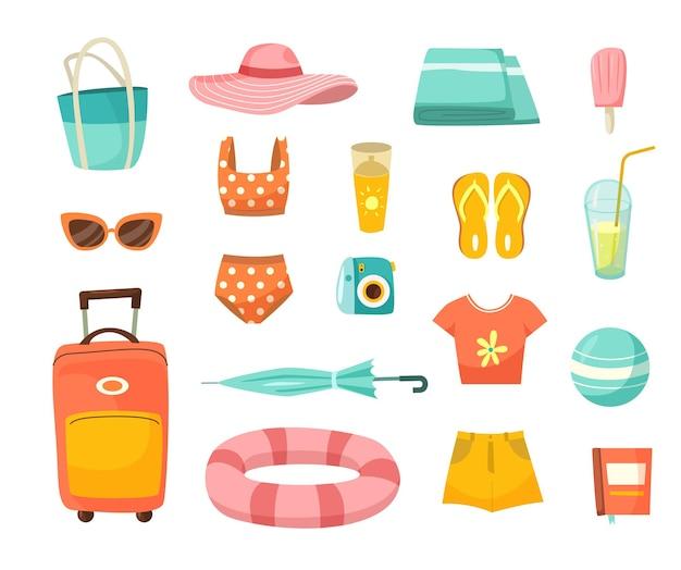 Kleidung für urlaubskarikatur-illustrationssatz