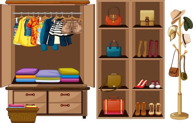 Kleidung hängt an einer wäscheleine mit accessoires im kleiderschrank