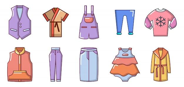 Kleidung-icon-set. karikatursatz kleidungsvektorikonen eingestellt lokalisiert