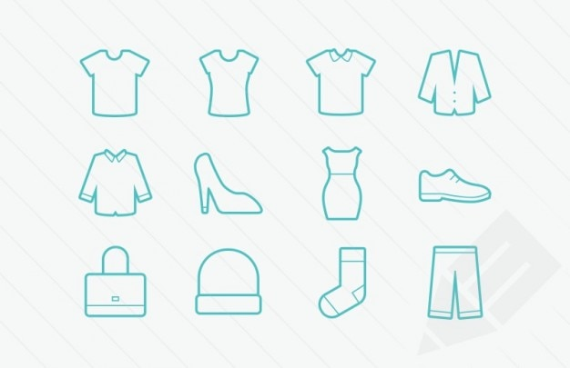 Kleidung icons vektor-glyphen