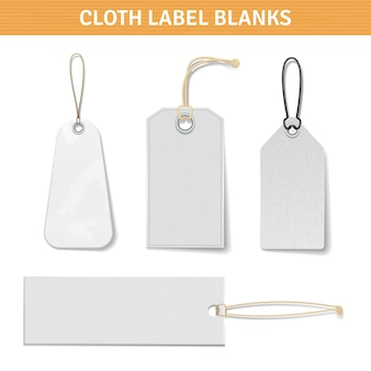 Kleidung label tags set