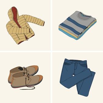 Kleidung und accessoires. set 9