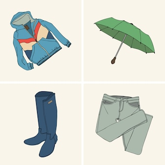 Kleidung und accessoires. stellen sie 7 ein