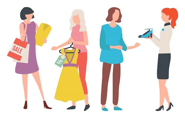 Kleidung und schuhe, frau einkaufen, kaufen