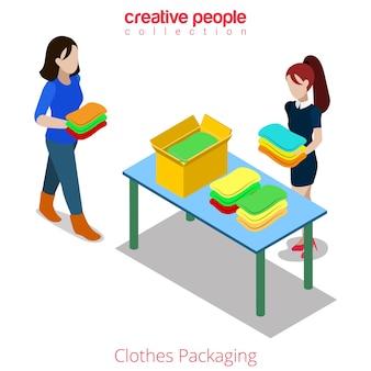 Kleidung verpackung mode boutique shop verkauf einkaufen flach 3d isometrie isometrische website konzept illustration