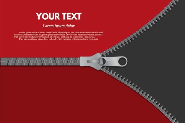 Kleidung verschluss farbe web-banner-vorlage schließen und öffnen grauen reißverschluss auf rotem hintergrund
