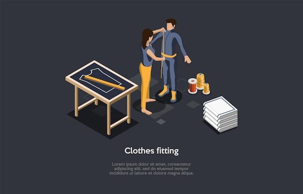 Kleidungs-anpassungsprozess, persönliches anzug-nähkonzept. isometrische zusammensetzung, cartoon 3d-stil illustration. vektor-design. näherin, die parameter des kunden misst, handarbeitselemente herum.