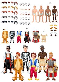 Kleidungs- und frisurenspiel mit männlichen avataren