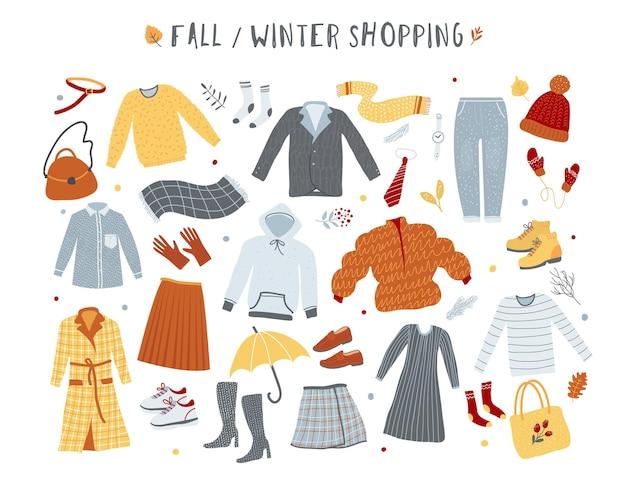 Kleidungs- und oberbekleidungskollektion, winter- und herbstmode, illustration des einkaufskonzepts. handgezeichnetes vektorplakat.