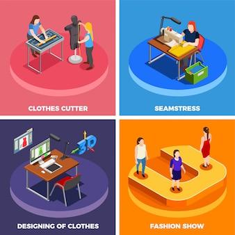 Kleidungsfabrik 4 isometrische icon-set