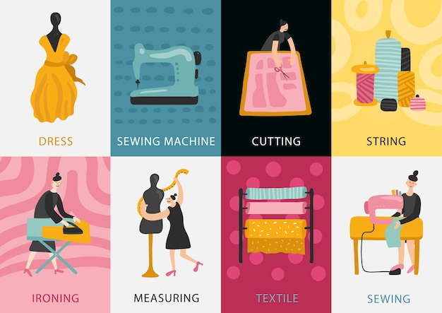 Kleidungsfabrikkarten-satz der kleidungsherstellung vom textil und vom messen zum schneiden des nähens bügeln flache illustration