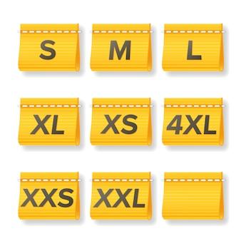Kleidungsgröße labels set