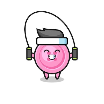 Kleidungsknopf-charakterkarikatur mit springseil, süßes design