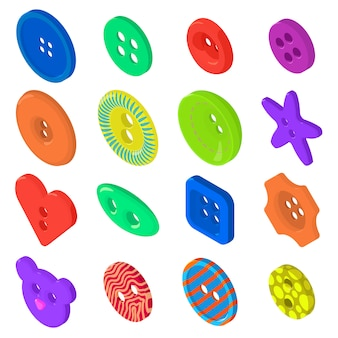 Kleidungsknopfikonen eingestellt. isometrische illustration von 16 kleidungsknopfikonen stellte vektorikonen für netz ein