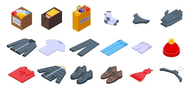 Kleidungsspendensymbole gesetzt. isometrischer satz kleidungsspendenvektorikonen für das webdesign lokalisiert auf weißem hintergrund