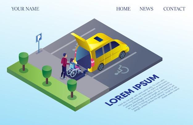 Kleinbus für körperbehinderte menschen auf dem parkplatz