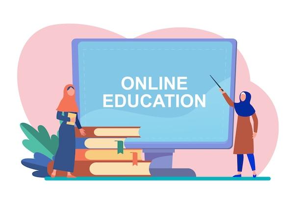 Kleine arabische frau, die über computer lernt. buch, student, internet flache vektorillustration. studium und online-bildung