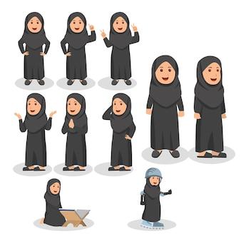 Kleine arabische kinder nette gesetzte charakter-karikatur-illustration