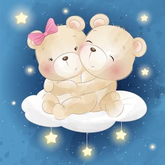 Kleine bären sitzen in einer wolke