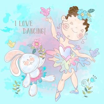 Kleine ballerina, die mit einem häschen tanzt.