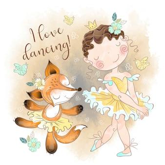 Kleine ballerina tanzt mit einer fox-ballerina. ich liebe es zu tanzen.